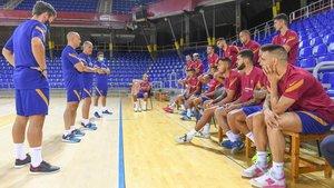 El Barça, la pasada semana en un entrenamiento en el Palau