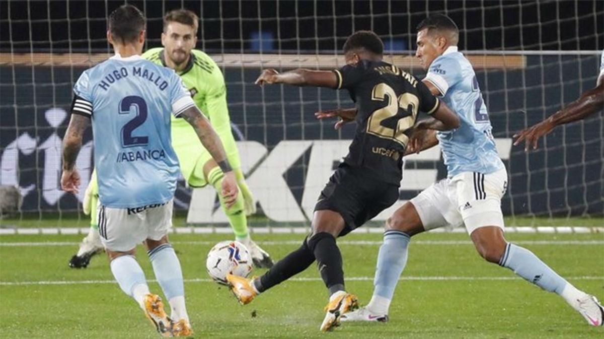 ¡Se le caen los goles! Control, velocidad, precisión y golazo de Ansu Fati para adelantar al Barça en Balaídos