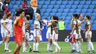 España celebró su clasificación tras empatar contra China