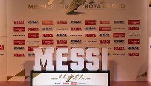 Leo Messi recibe en Barcelona su quinta Bota de Oro