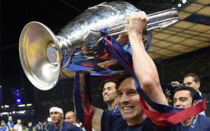 Messi, con la última Champions ganada con el FC Barcelona, en Berlín (2015)