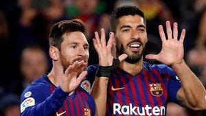 Messi y Suárez, goleadores