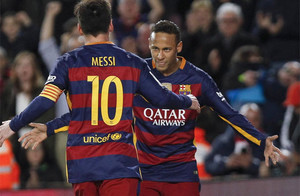 Neymar y Messi, celebrando el segundo gol ante el Betis