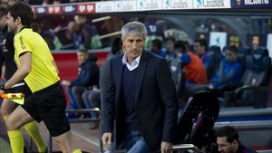 Quique Setién, hoy en el Camp Nou