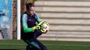 Sandra Paños entrenando con el FC Barcelona