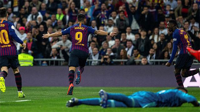 Suárez silenció al Bernabéu con el 0-1 en el peor momento del Barça