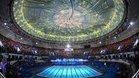 Una vista general de la apertura del 14º Campeonato Mundial de Natación FINA (25m) se muestra en Hangzhou.