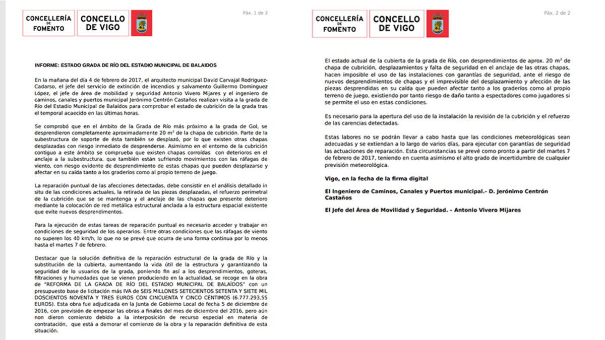 El informe técnico que desaconseja jugar en Balaídos el Celta - Madrid