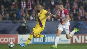 Arturo Vidal, en el encuentro ante el Slavia