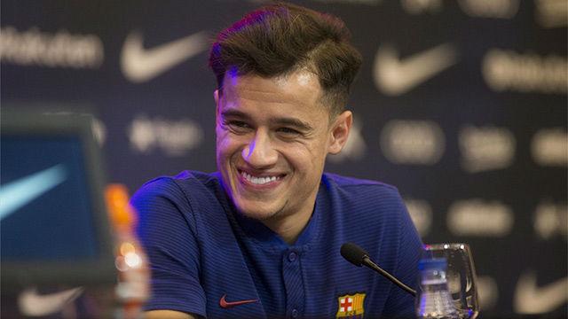 Coutinho dio su primera rueda de prensa como jugador del Barça