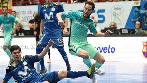 Daniel, con Movistar Inter, enfrentándose al Barça
