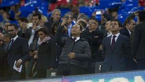 Dídac Lee, en el palco del Camp Nou