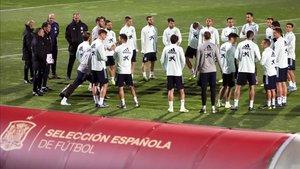 Primera sesión de entrenamiento de la selección española en Las Rozas