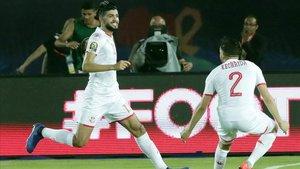 Sassi celebrando el primer gol del encuentro