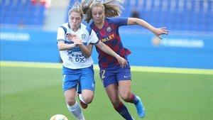 Acción de juego del Barça Femenino-Granadilla Tenerife de este curso