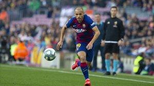 Braithwaite en su debut con el Barça
