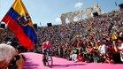 Carapaz con lágrimas llegando a meta en la Arena de Verona