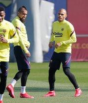 Martin Braithwaite entrena por primera vez con su nuevo equipo el FC Barcelona en la Ciutat Esportiva Joan Gamper.