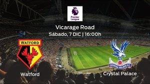 Previa del encuentro de la jornada 16: Watford contra Crystal Palace