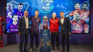 Andreu Plaza, Sergio Lozano, Miguelín y Diego Giustozzi, en el Camp Nou