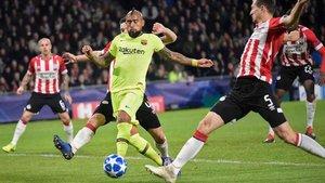 Arturo Vidal, uno de los jugadores más destacados del FC Barcelona ante el PSV Eindhoven