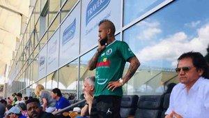 Artuto Vidal sufrió viendo jugar al Rodelindo