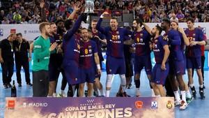 El Barça celebra el título de Copa