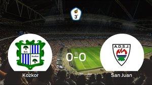 El Beti Kozkor y el San Juan DKE concluyen su enfrentamiento en el Complejo Deportivo Plazaola sin goles (0-0)