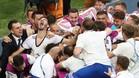 Jugadores de la selección rusa celebrando la victoria ante España en el Mundial
