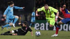 Leo Messi (izquierda) y Benzema y Busquets (derecha) en dos de los precedentes del Lyon-Barça de la Champions 2018/19