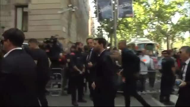 Leo Messi, a su llegada a la Audiencia de Barcelona