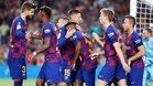 Los compañeros felicitan a Ansu Fati tras su gol