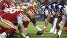 Los San Francisco 49ers se alinean contra los New York Giants durante su partido de la NFL en el Levis Stadium.