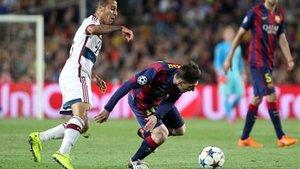 Messi, en acción contra el Bayern de Múnich: cinco partidos, cuatro goles