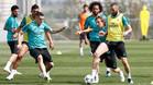 Un momento del entrenamiento del Real Madrid este miércoles