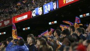 El partido de Liga ante el Atlético en el Camp Nou reunió a 92.453 espectadores