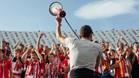 La primera peña del Girona protesta contra llevar el derbi a EE.UU