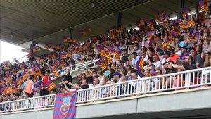 La última gran entrada en el Mini Estadi con un partido del filial fue el ascenso a Segunda A la temporada 2016-2017