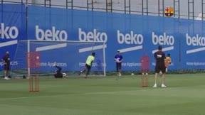 ¡Vuelve en plena forma! El lujazo de Griezmann ante Iñaki Peña en el entrenamiento de hoy