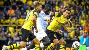 Dayot Upamecano, en acción en un partido frente al Dortmund