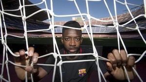 Dembélé, en el Camp Nou