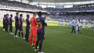 Las mejores imágenes del partido Real Sociedad 1 - FC Barcelona 2, de la Jornada 4 de la liga Santander
