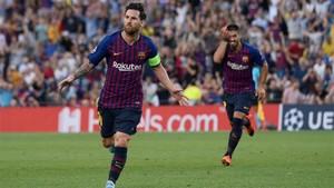 Messi celebra el primer gol de la Champions 18-19