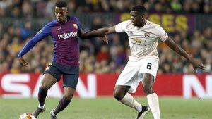 Nelson Semedo y Paul Pogba en el Barça-Manchester United de la Champions 2018/19