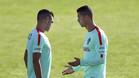 Pepe y Cristiano Ronaldo durante un entrenamiento de la selección de Portugal