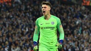 El portero del Chelsea, Kepa Arrizabalaga, fue protagonista en la final de la Carabao Cup