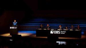 El presidente del FC Barcelona, Josep Maria Bartomeu, en un momento de su intervención