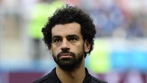 Salah durante el Mundial con Egipto
