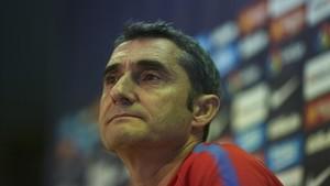 Ernesto Valverde, en la rueda de prensa previa al partido ante el Atlético