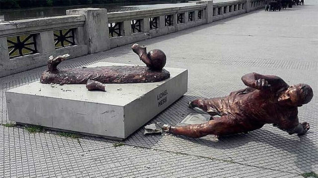 La estatua de Messi ya ha sido dañada dos veces